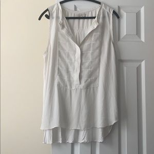 LOFT cream sleeveless mixed media top, size L